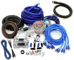 0 Gauge & 4 Gauge 2 Way 8500w 3 Rca Wire Amp Kit Install Dual Amplifier Cables O