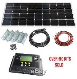 100W Solar Panel LCD Mono Kit 12V Brackets Mounts Caravans Boats Motor homes