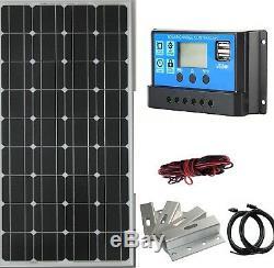 100W solar panel kit monocrystalline boat caravan motorhome 12v 20A controller
