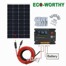 120 Watt Solar Panel Kit 12 Volt Battery Charger RV Travel Trailer Camper Van