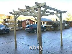 2.4m wide x 2.4m deep x 2.4m timber wooden garden gazebo pergola kit