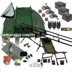3 Rod Mega Carp Fishing Set Up Kit Rods Reels Chair TACKLE PACK Net Bait
