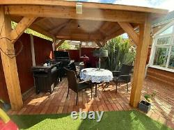 3m sq. Wooden (Larch) Gazebo With Felt shingles DIY Kit
