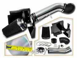 4 BLACK 99-06 GMC/Chevy V8 4.8L/5.3L/6.0L Cold Air Intake System +Heat Shield