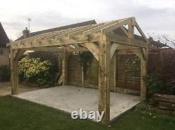 4 Post Wooden Garden Shelter Frame, Gazebo, Hot Tub, Car Port Canopy Kit 3.6m x 3m