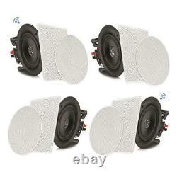 4 Speakers 8 Bluetooth Ceiling / Wall Speaker Kit, Flush Mount 2-Way Home