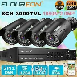 8CH CCTV 1080P 1080N AHD DVR 4X 3000TVL 2.0MP IP Camera Security NVR System Kit