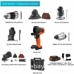 BLACK+DECKER Cordless Drill Combo Kit with Case, 6-Tool Driver Sander Jigsaw