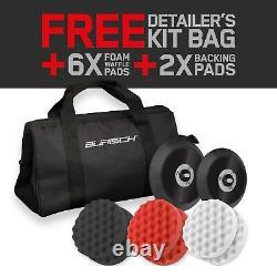 BURISCH HDR2500 Dual Action DA Polisher Sander + Foam Compounding Pads + Kit bag
