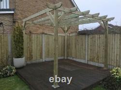 B GRADE 2.4m wide x 2.4m deep x 2.4m timber wooden garden gazebo pergola kit