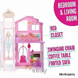 Barbie DLY32 Estate Three-Story Town House Colourful and Bright Doll House