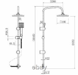 Bathroom Square Shower Mixer Waterfall Tap Kit Riser Rail Hose Chrome Twin Heads