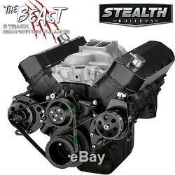 Black Big Block Chevy Serpentine Pulley Conversion Kit Power Steering, BBC 454