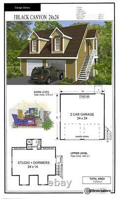 Black Canyon 24x24 Garage Customizable Shell Kit Barn-dominium, ready to build