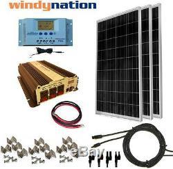 COMPLETE KIT 300 W Watt 300W Solar Panel + 1500W Inverter 12V RV Boat Off Grid