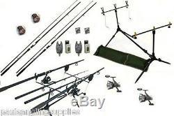 Carp Fishing Set Kit 2 Rods 2 Reels 2 Alarms Rod Pod + More