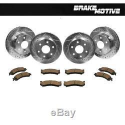 Front+Rear Drill Slot Brake Rotors & Ceramic Pads For Chevy Silverado Escalade