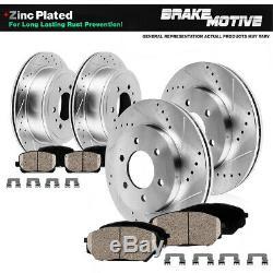 Front+Rear Drill Slot Brake Rotors + Ceramic Pads For Escalade Chevy Tahoe Yukon