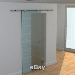 HOMCOM Sliding Barn Door Hardware Track Kit 6.6ft Glass Door Aluminum-alloy