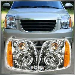 Headlights Headlamps Left & Right Pair Set of 2 for 07-14 GMC Yukon SUV