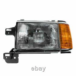 Headlights Headlamps with Chrome Trim Pair Set for 87-91 Bronco F-Series Truck
