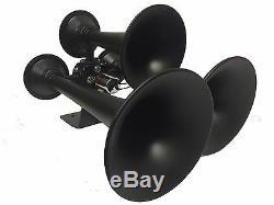 Hornblasters Rhino 12v 3Liter Black Train Horn Kit Stop you in your tracks LOUD