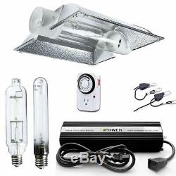IPower 600W HPS MH Grow Light Kit Cool Tube Wing Cool Tube Reflector Hood Set
