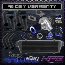 Jdm Universal T3/t4 Turbo Kit Turbocharger+intercooler+wastegate+bov+boost Gauge