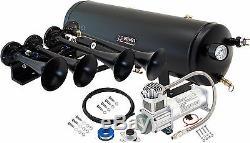 Loud 4/quad Trumpet Train Sound Air Horn Full System Kit 3 Gal Tank/compressor