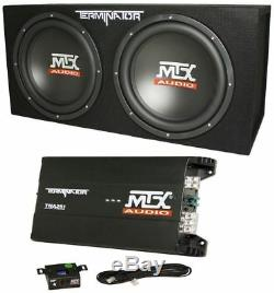 MTX Terminator TNP212D2 Dual 12 Subwoofers+Enclosure+Amp Kit+2 Farad Capacitor