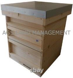 National bee hive with brood box and two supers. Beekeeping beehive kit hives