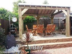Open sided Wooden Garden Shelter, Gazebo, Hot Tub Timber Canopy Kit 4.6m x 3m
