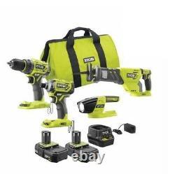 RYOBI 18V 4 Tool Kit Impact Saw Drill 2X Battery P252 P239 P518 P190 BRUSHLESS