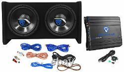 Rockville RV10.2B 1000w Dual 10 Car Subwoofer Enclosure+Mono Amplifier+Amp Kit