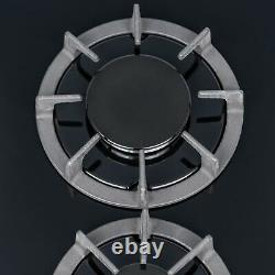 SIA BGH30BL 30cm Black Gas On Glass Domino Hob With Cast Iron Stands And LPG Kit