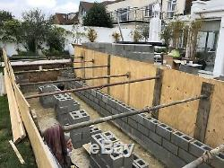 SWIMMING POOL DIY SELF BUILD CONCRETE RE-ENFORCED POOL KIT 24' x 12 FLAT FLOOR