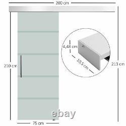 Sliding Glass Door 8mm Tempered Hardware Track Kit Rubber Wheels 75 x 210cm