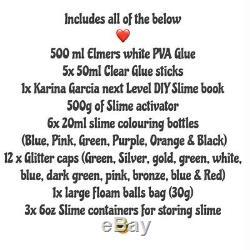 Slime Making Kit with elmers glue Slime activator, fluffy Slime & Karina UK