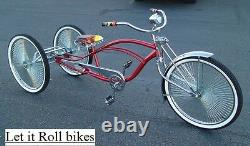 Tricycle Conversion Kit Chrome Hollow Hub 5/8 Axle Fixed Sprocket Lowride New