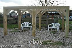 Wooden Garden Shelter Frame, Gazebo, Hot Tub, Canopy Kit 4.4m x 3m