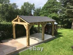 Wooden Timber Shelter with Ashpalt Single Roof DIY Kit 4.2m x 3m