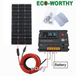 100w Kit De Panneau Solaire 12v Chargeur De Batterie 20a Contrôleur LCD Caravane Van Boat Rv