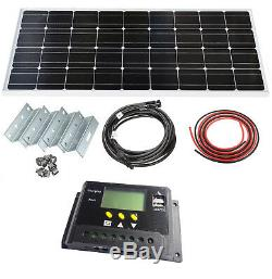 100w LCD Panneau Solaire Mono Kit 12v Supports Supports Caravanes Bateaux Camping-cars