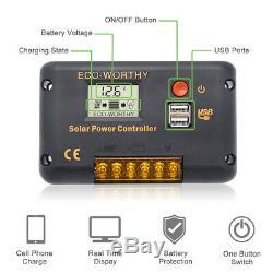 100w Panneau Solaire Kit Batterie 12v Chargeur 20a Contrôleur LCD Caravan Van Boat Rv