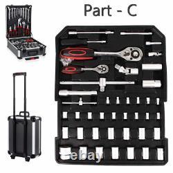 1200 Pcs Tool Set Case Mechanics Kit Box Organiser Castors Toolbox Trolley Royaume-uni