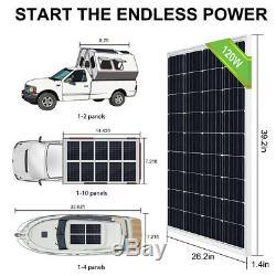 120 Watt Panneau Solaire Kit 12 Volt Chargeur De Batterie Voyage Rv Remorques Camper Van