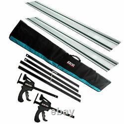 165mm Plunge Saw Accessories Kit 2 X 1500mm Guide Rail Connecteur Clamp Rail Bag