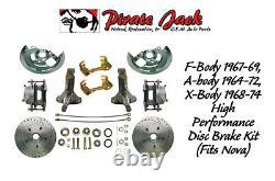 1964-1972 Gm A, F, X Kit De Conversion De Frein À Disque De Corps 9 Booster Rotors Percés