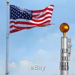 25ft Flag Pole Kit Télescopique En Aluminium Avec Mât Solaire Lumières Fly 2 Flags