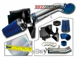 4 Bleu Gmc / Chevy V8 4.8l / 5.3l / 6.0l Heat Shield Froid Filtre D'admission D'air Système +